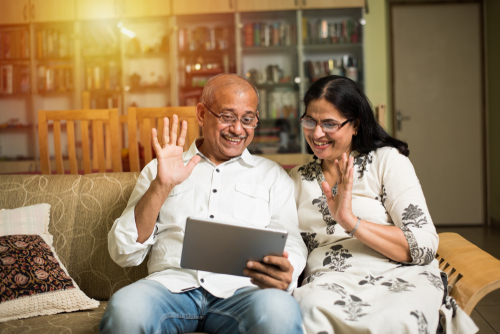 Grandparents staying connected through video chat